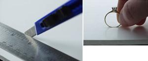 Il posizionamento del primo anello direttamente sul pannello di schiuma poliuretanica